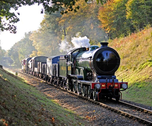 B12 at Mill Place Cutting with Goods train - Derek Hayward - 28 October 2016