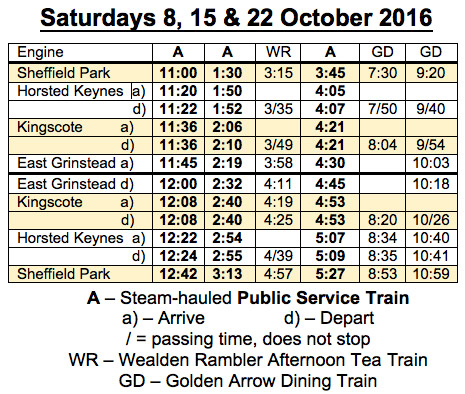 Temporary Timetable - Saturdays 8, 15 & 22 October 2016