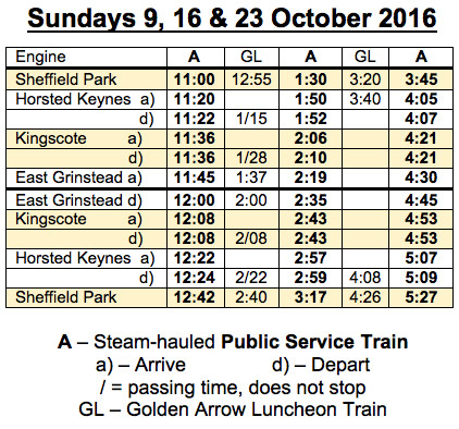 Temporary Timetable - Sundays 9, 16 & 23 October 2016