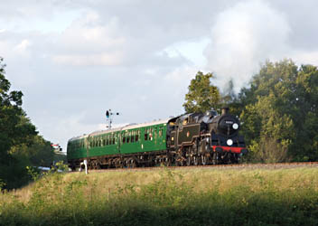 80151 with three Bulleid coaches departing from Horsted Keynes - 29 August 2009 - Richard Salmon