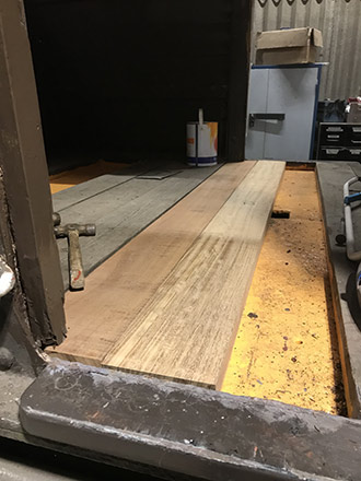 New veranda floor planks being fitted to the Queen Mary - Richard Salmon - 21 July 2021