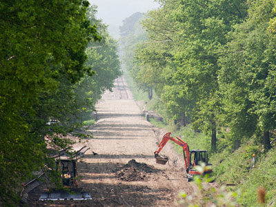Regraded trackbed, with ditch being dug, south of Imberhorne Lane - John Sandys - 24 May 2012