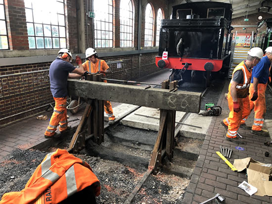Installation of bufferstops in Locomotive Shed - Mike Hopps - 2020