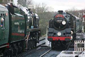 80151 and 34059 at SP with the Santa Special trains - 13 December 2009 - Tony Sullivan