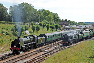 1638 with the two Bulleid Pacifics at Horsted Keynes - Derek Hayward - 24 July 2010
