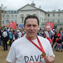 Dave Clarke after completing the London Marathon - 25 April 2010 - Richard Salmon