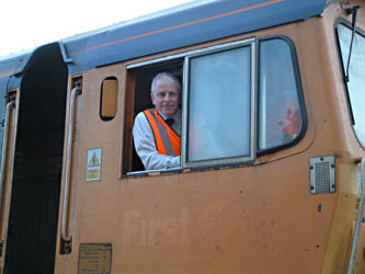 Roy in cab of class 66 - David Chappell - 5 July 2010