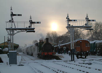 C-class No.592 at Horsted Keynes as the sun sets - David Chappell - 19 Dec 2010