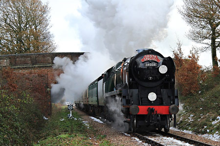 Archie with Santa Special near the top of Freshfield Bank - Michael Hopps - 5 December 2010