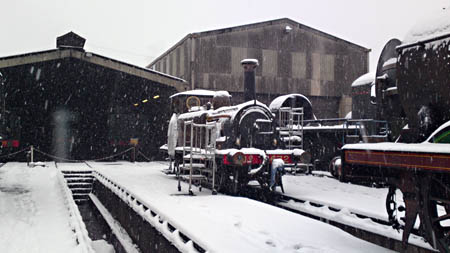 Fenchurch in the snow at Sheffield Park shed - Chrissie Nemeth - 1 December 2010