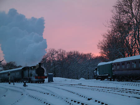 C-class No.592 approaches Horsted Keynes at dusk - David Chappell - 19 December 2010