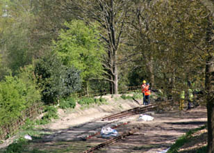 Tracklaying as seen from Hill Place Farm Bridge - Tony Sullivan - 6 May 2010