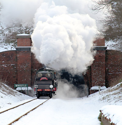 672 and B473 leaving tunnel with Santa Special train - Robert Else - 24 December 2010
