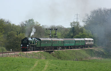 34059 departs from Sheffield Park - Tony Sullivan - 21 April 2011
