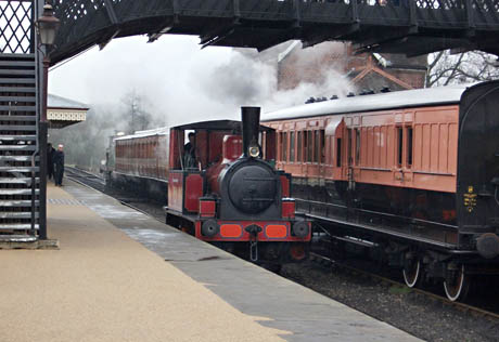 'Captain Baxter' sits in Patform 2 at Sheffield Park as the C-class waits to take its train north - Chris Thomas - 13 March 2011