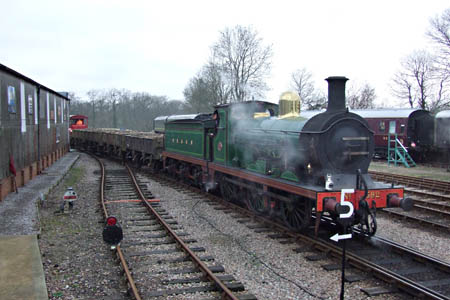 C-class 592 with engineering train at Horsted Keynes - Richard Salmon - 22 January 2011