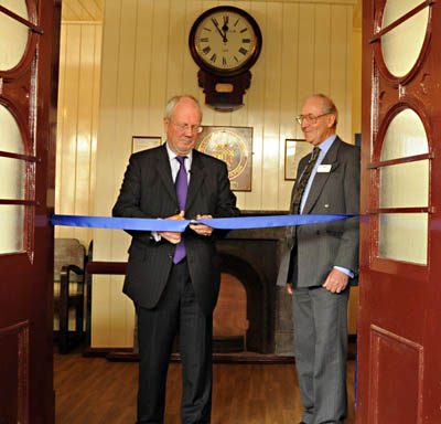 Lord Faulkner and Sam Bee cutting ribbon - Derek Hayward - 23 June 2011