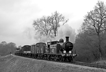 B473 with goods train - Stephen Leek - 31 March 2011