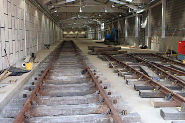 Track laid into the carriage shed at SP - Mike Hopps - 23 June 2011