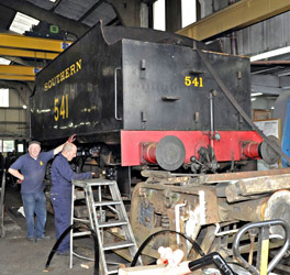 Q-class tender in the workshop at SP - Derek Hayward - 24 Sept 2011
