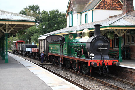 SECR C-class arrrives at Kingscote with Goods Train - Mike Hopps - 8 October 2011