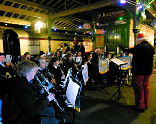Bluebell Railway Band playing at the Carol service at Horsted Keynes - Robin Willis - 3 Dec 2011