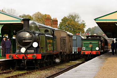 E4 sits patiently at Horsted Keynes as the C arrives from Kingscote with one of the three pre-grouping coach sets - Peter Trimming - 4 Nov 2011