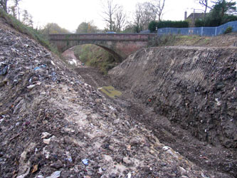Looking south along the excavated cutting towards Imberhorne Lane Bridge - Nigel Longdon - 9 Dec 2011