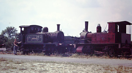 Pioneer II and Baxter stand forlornely at Sheffield Park - Bluebell Archive - early 1970s
