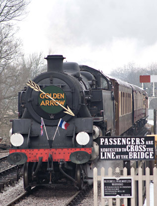 80151 with the Golden Arrow at SP - Sheila Beaumont - 12 February 2012