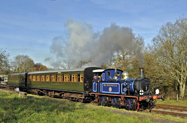 P-class 323 leaves Kingscote with vintage coaches - Derek Hayward - 18 November 2012