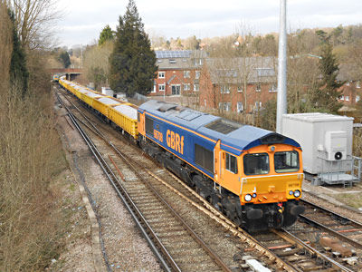 66708 with ballast train at Hurst Green Junction - Brian Kidman - 21 February 2013
