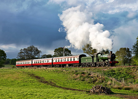 3205 with Crimson Lake and Cream coaches on photo charter - David Haggar - 15 May 2013