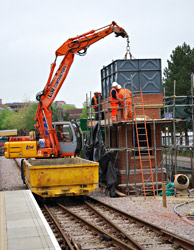 Water tank craned into position at East Grinstead - Pat Plane - 22 May 2013