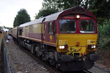 66172 leading the railtour back onto NR metals at East Grinstead - Brian Lacey - 10 Sept 2013