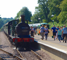 C class and Bluebell arrive at East Grinstead - Brian Lacey - 4 Sept 2013