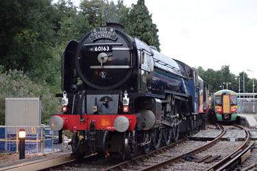 Tornado trails the departing train at East Grinstead - Brian Lacey - 10 Sept 2013