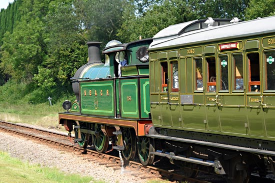 H-class and Birdcage Brake at West Hoathly station site - Brian Lacey - 1 August 2017