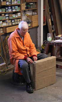 Frank Ferris working on a seat cushion for Maunsell carriage 3687 - Dave Clarke - 14 September 2014