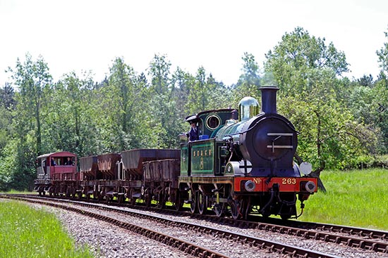 H-class approches Kingscote with goods train - Derek Hayward - 1 June 2019