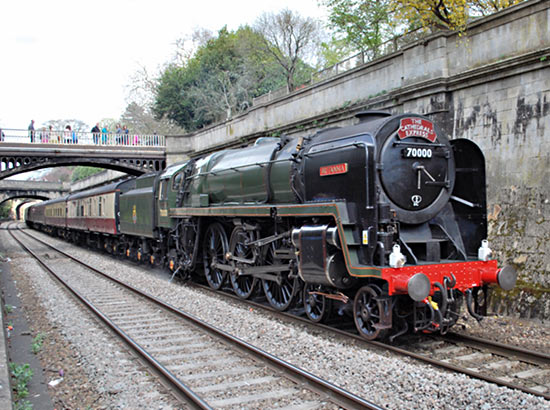 No. 70000 approaching Bath - Hugh Llewelyn (CC BY-SA 2.0) - April 2012