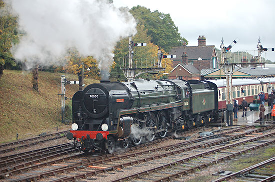 Britannia heads the 12-car train out of Horsted Keynes - Keith Leppard - 13 October 2019