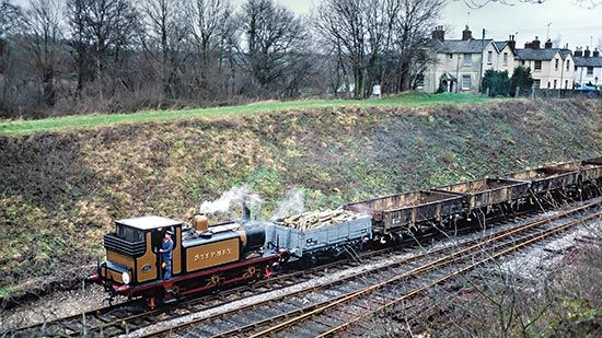 Stepney with an engineers train north of Horsted Keynes - Nigel Sealey - 20 December 1987