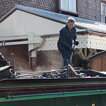 Fireman on 65 brings the coal forward in the tender - Jack Lamb - 7 August 2020