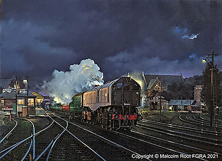 Malcolm Root's painting of the Bulleid Leader