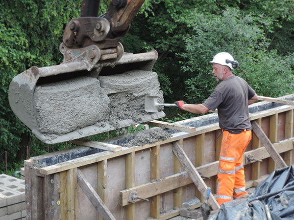 Retaining wall being cast - John Arkell - 9 July 2021